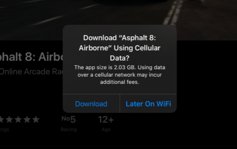 unlimit downloads size in ios 13