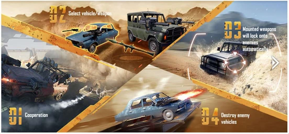 المركبات في لعبة ببجي موبايل