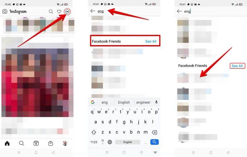 كيف تتصل بأصدقائك على فيس بوك من انستجرام