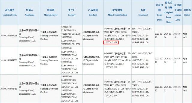 قوائم شاحن Samsung Galaxy S21 + و S20 Ultra