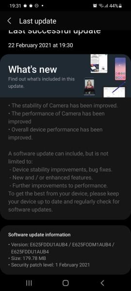 أول تحديث للبرنامج لهاتف Samsung Galaxy F62